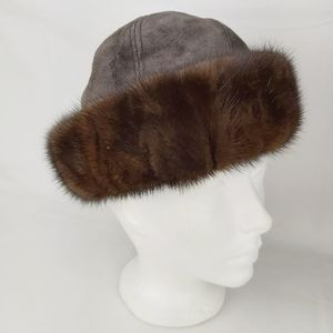 Vintage Vittorio real fur and suede brown hat